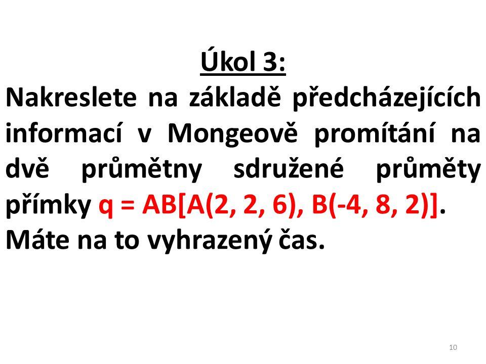 Úkol 3: Nakreslete na základě předcházejících informací v Mongeově promítání na dvě průmětny sdružené průměty přímky q = AB[A(2, 2, 6), B(-4, 8, 2)].